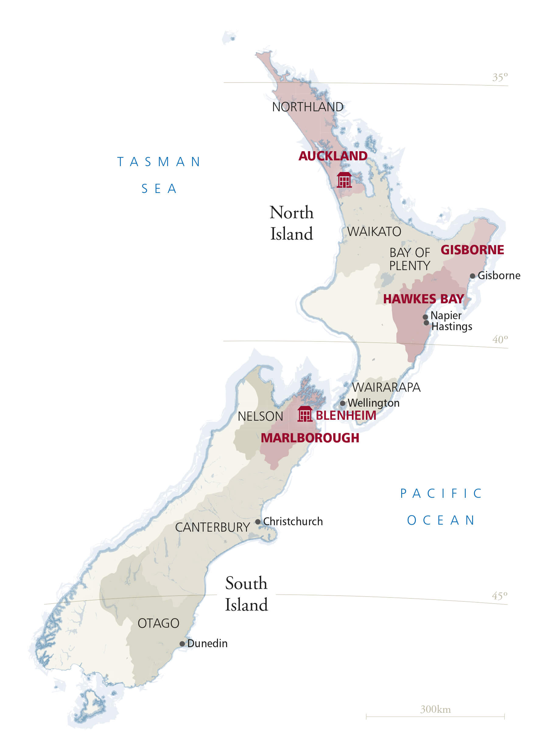 Map of New Zealand showing Villa Maria's vineyard areas and wineries