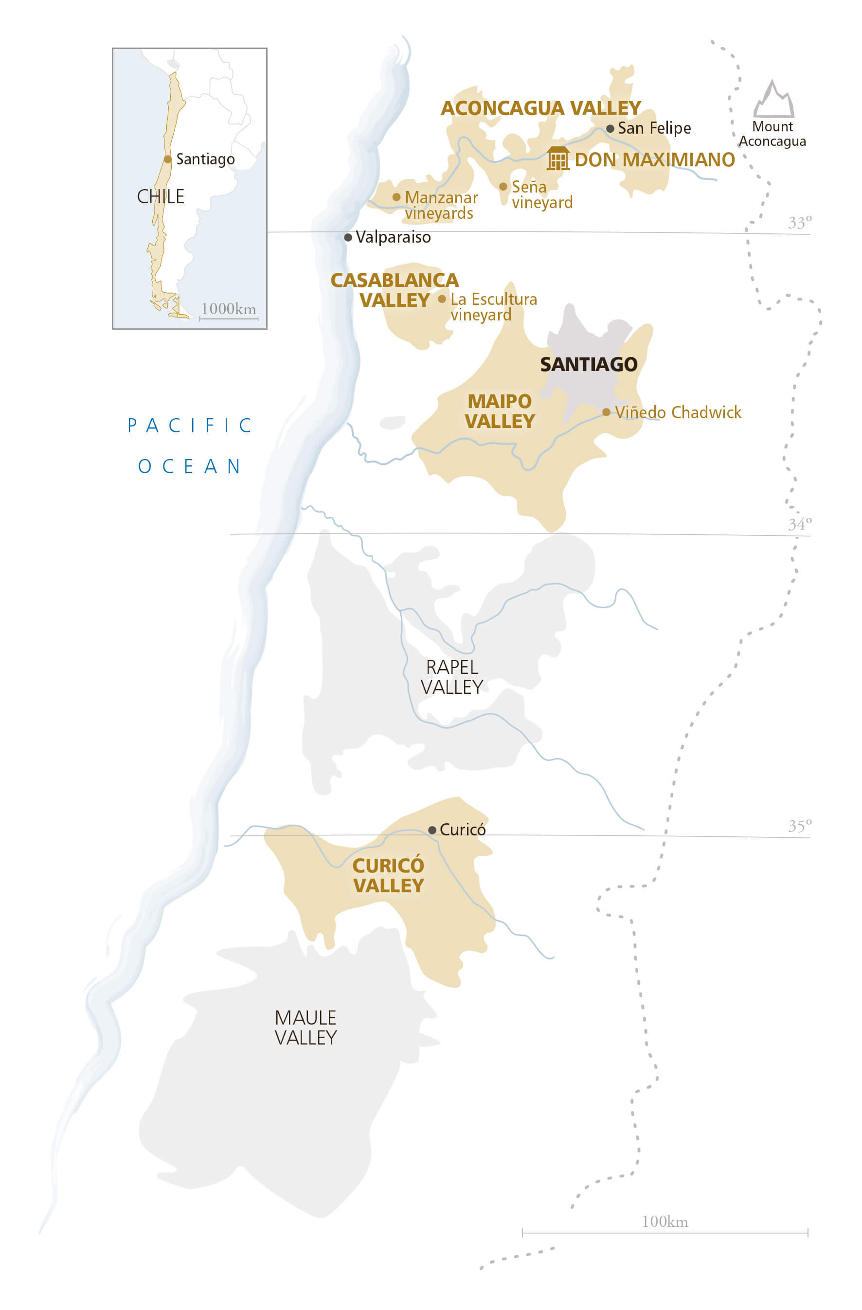 Central Valleys region of Chile indicating location of the Aconcagua vineyards and winery
