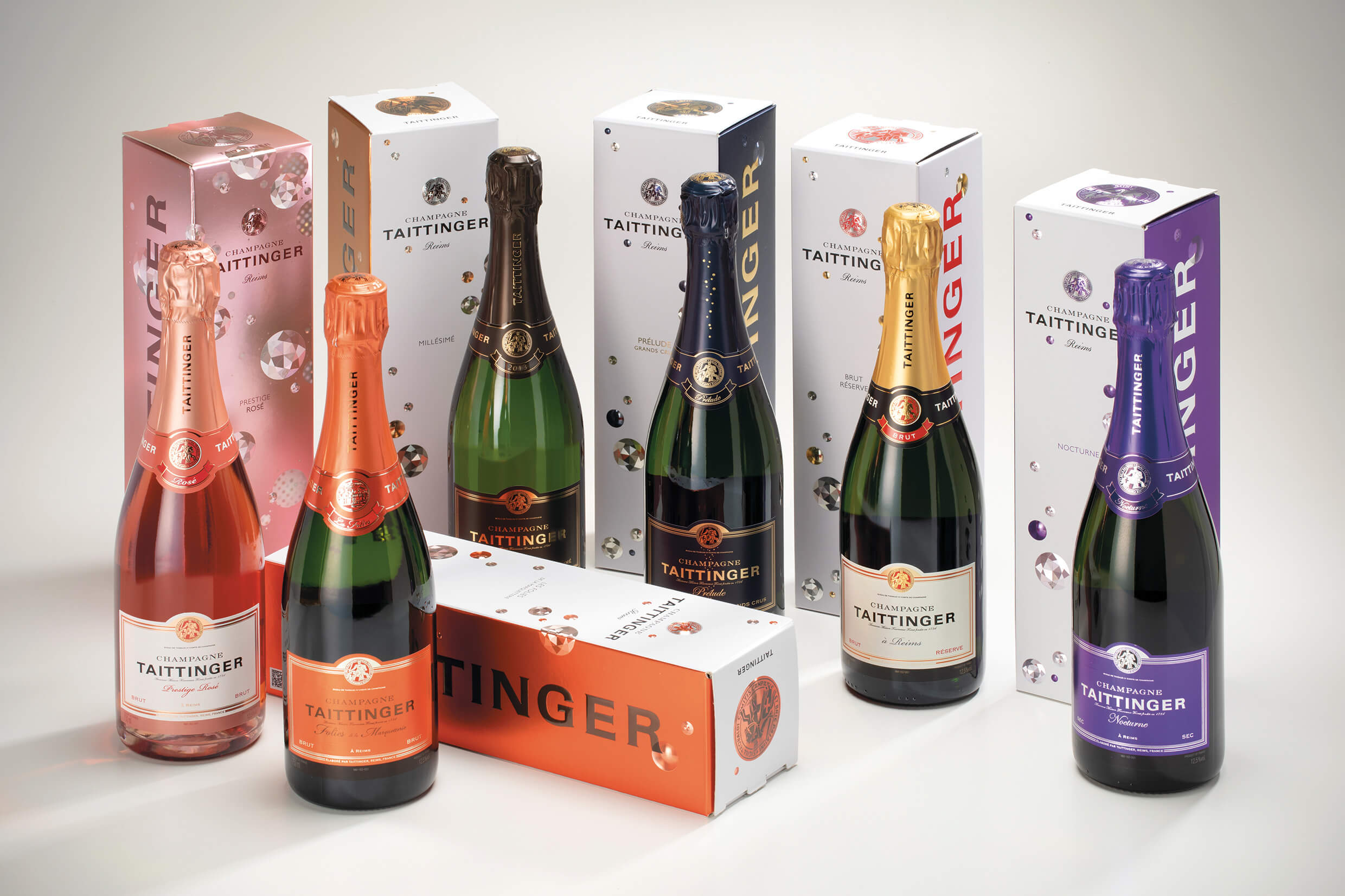 Taittinger range of bottle gift packs - 2020