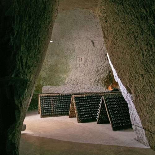Champagne resting in Taittinger's 4th century Roman chalk cellars